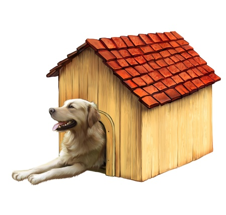 guard house: Dog in a dog house  Golden retriver Stock Photo