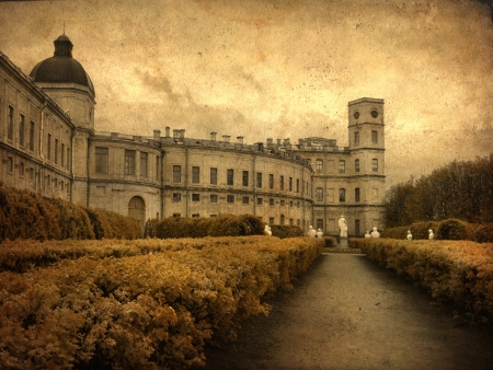 Old classic palace with statues near main entrance  in grunge and retro style  Retro card  Vintage backgraund  photo