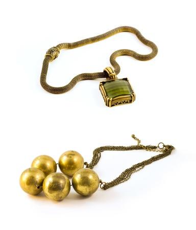 bangle: Golden nacklace, Chunky Necklace, jewelery isolated on white background  Stock Photo
