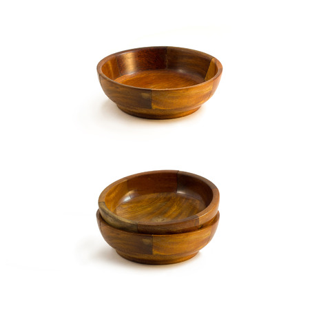Set of wooden bowls isolated on white backgroundcloth