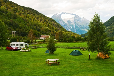 Morning landscape with a camping in mountains of Norway