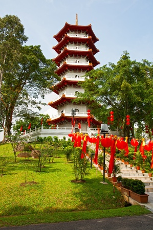 The big pagoda in the Chinese garden, Singapore photo
