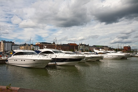 fibreglass: Parking of boats and yachts in the centre of Helsinki