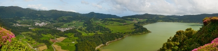 The top view on lake and town Furnas, Sao Miguel, Azores photo