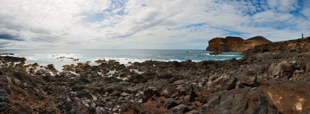 Beacon Capelinhos on the coast of island Faial, Azores 写真素材