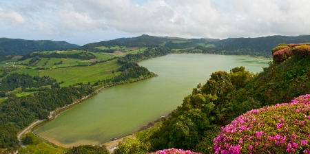 The top view on lake Furnas, Sao Miguel, Azores 写真素材