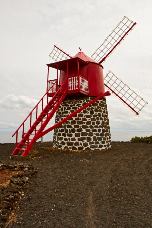 traditional windmill: The symbol of the Azores is a traditional windmill Stock Photo