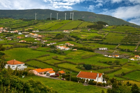 The top view on a rural landscape c wind generators on a hill Stock Photo - 15303743