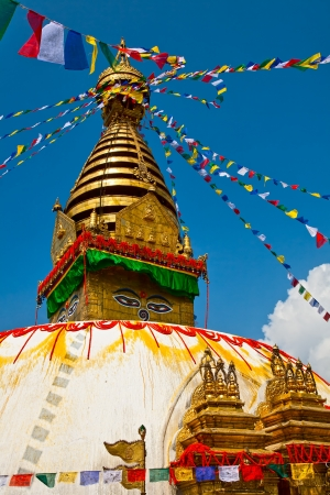 Ancient stupa Swayambhunath  is a religious complex in the Kathmandu  photo