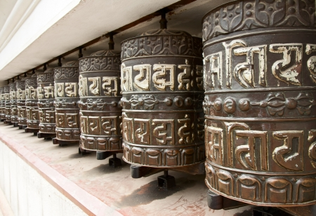 Prayer wheels in Swayambhunath, Nepal  photo