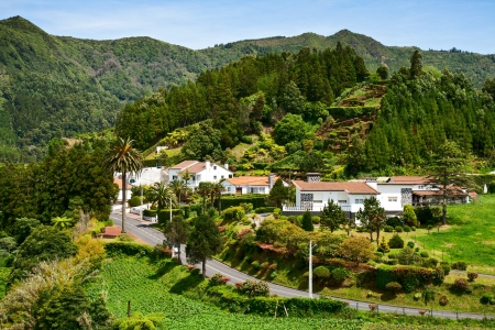 agriculture azores: Furnas - a city in a volcano crater