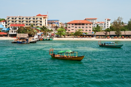 View from the sea on a city beach of Sihanoukville photo