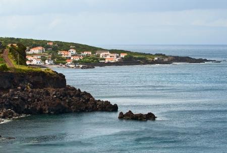 landslip: The island Pico, a village on the shores of the Atlantic ocean