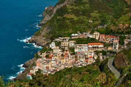 Italy, a top view of the town of Riomaggiore photo