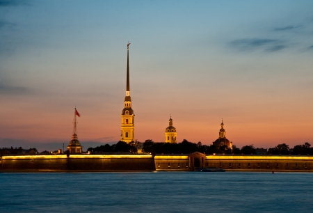 View on the Peter and Paul fortress in summer white nights, St  Petersburg photo