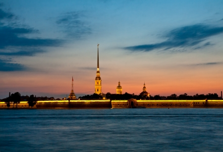 View on the Peter and Paul fortress in white nights, St  Petersburg photo
