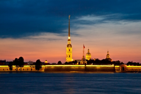 St  Petersburg, view on the Peter and Paul fortress in summer white nights photo