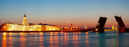 Panorama of quays of St -Petersburg and the raised bridge at white night