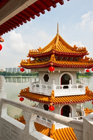 without windows: Pagoda on lake in the Chinese garden, Singapore Stock Photo