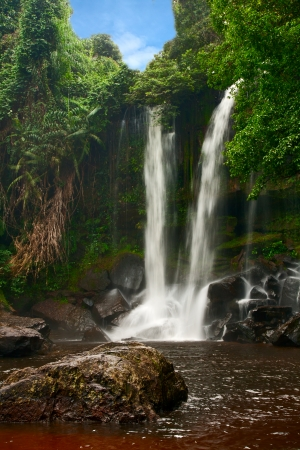 Waterfall on a mountain of Phnom Kulen, Cambodia