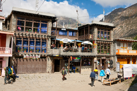 RANIPAUWA, NEPAL - OCTOBER 02, 2012 - The legendary hotel Bob Marley, where the tourists stay after passing through the Thorong La pass