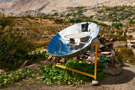 Solar cooker in the Himalaya mountains of Nepal