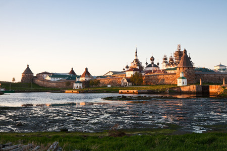 View on Solovetsky Monastery at sunset photo