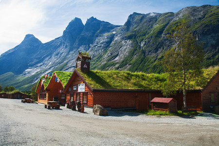 TROLLVEGGEN, NORWAY - AUGUST 12, 2011 - In a picturesque place on the lookout located souvenir shops in the traditional Norwegian style