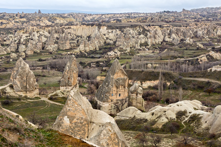 goreme: Cappadocia, Mountain landscape near the town Goreme, Turkey