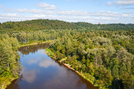 Top view of the valley of the river Gauja