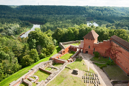 gauja: Old Turaida castle in Sigulda, Latvia Editorial