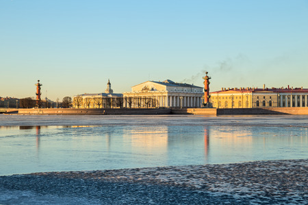 View of the Spit of Vasilevsky island early morning in winter, St. Petersburg