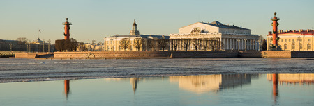 Panoramic view of the Spit of Vasilevsky island early morning in winter, St. Petersburg