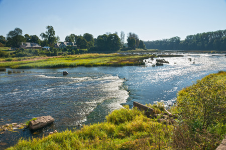 rumba: Ventas Rumba on the river Venta in Latvia the widest waterfall in Europe Stock Photo