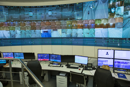 SAINT-PETERSBURG, RUSSIA - APRIL 12, 2015 - Central control panel an automobile tunnel under a ship canal. Flood Prevention Facility Complex