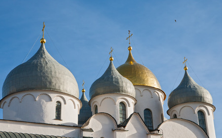 The domes of St. Sophia Cathedral in Veliky Novgorod, Russia Stok Fotoğraf