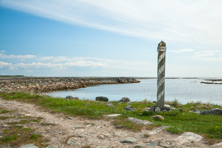 milepost: Milepost on the road to Muksalma, Solovetsky Islands, Russia Stock Photo