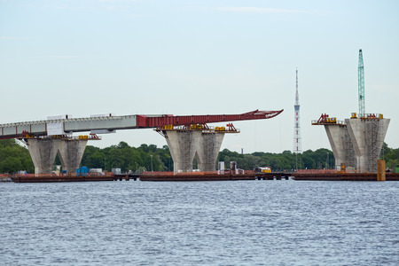 ST. PETERSBURG, RUSSIA - JUNE 06, 2015: Construction western high speed diameter. Central Section, bridge supports