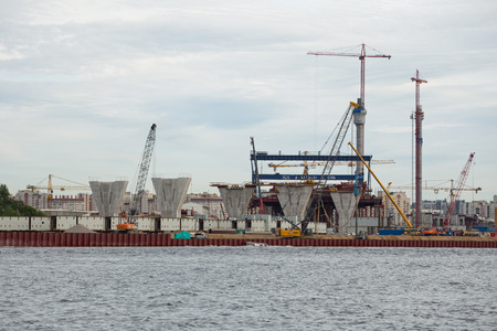 diameter: ST. PETERSBURG, RUSSIA - JUNE 06, 2015: Construction western high speed diameter. Central Section