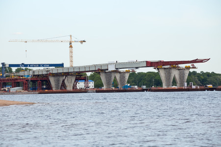 diameter: ST. PETERSBURG, RUSSIA - JUNE 06, 2015: Construction western high speed diameter. Central Section, Bridge over the river