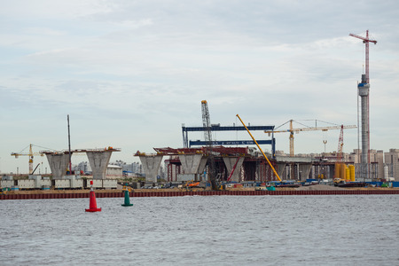 poling: ST. PETERSBURG, RUSSIA - JUNE 06, 2015: Construction central section of western high speed diameter. Editorial