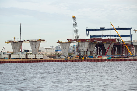 ST. PETERSBURG, RUSSIA - JUNE 06, 2015: Construction western high speed diameter. Supports central section