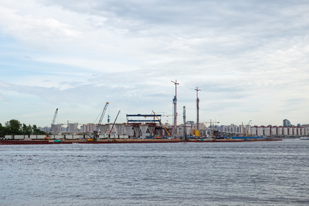 poling: ST. PETERSBURG, RUSSIA - JUNE 06, 2015: Construction western high speed diameter. Central Section