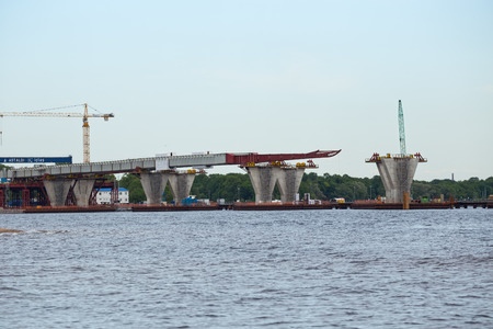 poling: ST. PETERSBURG, RUSSIA - JUNE 06, 2015: Construction western high speed diameter. Central Section, bridge supports