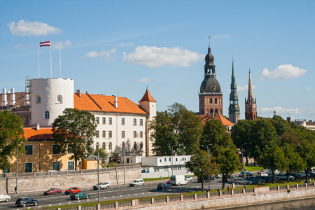 anglican: Riga castle, dome Cathedral, the Church of St. Peter and the Anglican Church on the Daugava river embankment Editorial