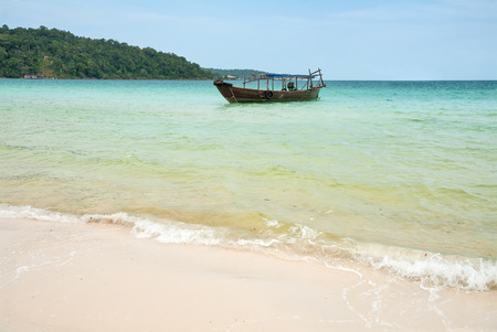 Traditional boat near the coast of the island of Koh Rong, Cambodia, Southeast Asia