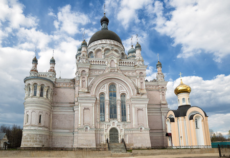 eclecticism: Orthodox convent Our Lady of Kazan in Vyshny Volochyok, Russia. The Kazan Cathedral and the chapel of Vera, Nadezhda, Lyubov and their mother Sophia. Stock Photo