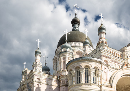 eclecticism: Orthodox convent Our Lady of Kazan in Vyshny Volochyok, Russia. Fragment of architecture. Dome. Stock Photo