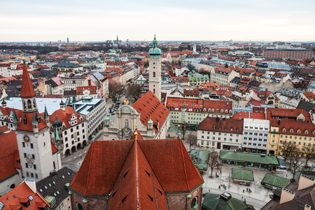 old town hall: Aerial view over the roofs of Munich, Old Town Hall and Heiliggeistkirche Stock Photo