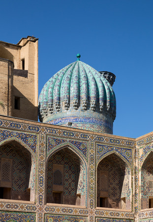 Dome and gallery on the second floor of Madrasah Sher-Dor courtyard. Samarkand, Uzbekistan